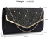LSE00264 -  Black / Silver  Large Diamante Flap Clutch purse
