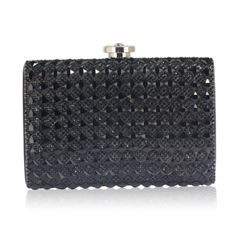 LSE00267 -  Black Diamante Clutch purse