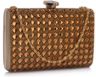 LSE00267 -  Gold Diamante Clutch purse