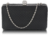 LSE00278 - Black  Crystal Beaded Evening Clutch Bag
