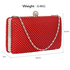 LSE00278 - Red Crystal Beaded Evening Clutch Bag