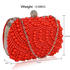 LSE00209 - Red Beaded Pearl Rhinestone Clutch Bag