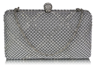 LSE00277 - Wholesale & B2B Silver Beaded Crystal Cluth Bag Supplier & Manufacturer