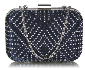 LSE00281 - Navy Hard Case Diamante Clutch Bag