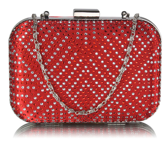 LSE00281 - Red Hard Case Diamante Clutch Bag