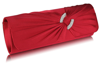 LSE00175- Red Satin Clutch Bag With Crystal Decoration