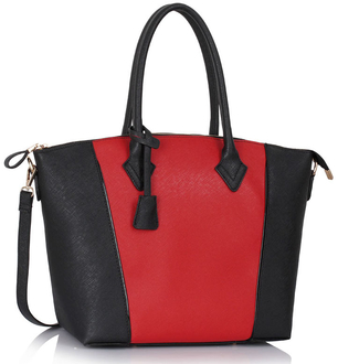 LS00332 - Black / Red Grab Tote Handbag