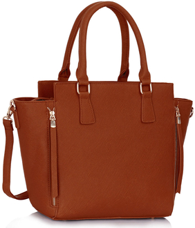 LS00314 - Wholesale & B2B Brown Zipper Tote Supplier & Manufacturer