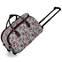 AGT00308 - Blue Owl Print Travel Holdall Trolley Luggage With Wheels - CABIN APPROVED