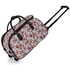 LS00308 - White Owl Print Travel Holdall Trolley Luggage With Wheels - CABIN APPROVED