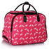 LS00309A - Pink Horse Print Travel Holdall Trolley Luggage With Wheels - CABIN APPROVED