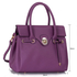 LS00301L - Purple Twist Lock Flap Grab Shoulder Bag