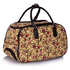 LS00308 - Beige Owl Print Travel Holdall Trolley Luggage With Wheels - CABIN APPROVED