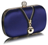 LSE00262 - Navy Satin Clutch With Crystal Decoration