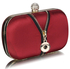 LSE00262 - Red Satin Clutch With Crystal Decoration