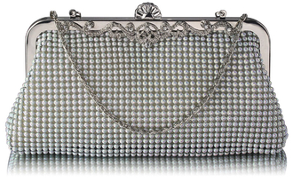 LSE0047 - White Beaded Crystal Clutch Bag