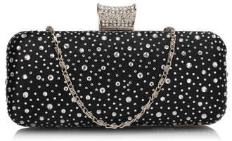 LSE00286 - Black / Silver Sparkly Crystal Satin Evening Bag