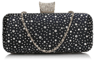 LSE00286 - Navy Sparkly Crystal Satin Evening Bag