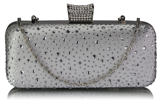 LSE00286 - Ivory Sparkly Crystal Satin Evening Bag