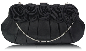 LSE00287 - Wholesale & B2B Black Flower Design Satin Evening Bag Supplier & Manufacturer