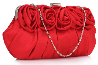 LSE00287 - Red Flower Design Satin Evening Bag