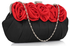 LSE00287 - Black / Red Flower Design Satin Evening Bag