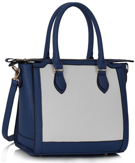 LS00149A  - Navy / White -  Colour Block Tote Handbag