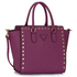 LS00287 - Purple Studs Decorated Tote Bag