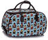 LS00308B - Blue Bear Print Travel Holdall Trolley Luggage With Wheels - CABIN APPROVED