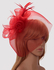 LSH00194 - Red Mesh Hat Feather Fascinator