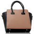 LS00149 - Black / Nude Polished Metal Shoulder Handbag