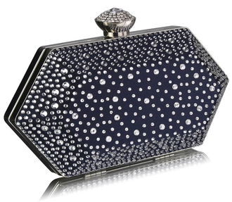 LSE00285 - Navy Rhinestone Studded Hard Box Bridal clutch bag