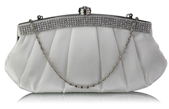 LSE00288 - Ivory Diamante Evening Clutch Bag
