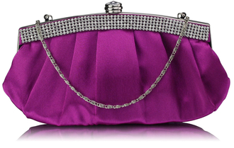 LSE00288 - Purple Diamante Evening Clutch Bag