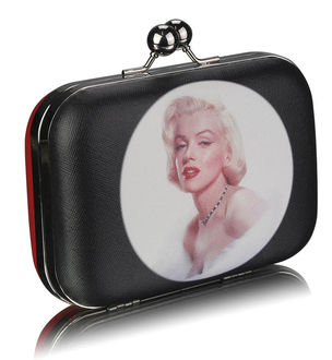 LSE00289 - Red Hard Case Clutch Bag With Kiss Lock