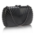 LSE00294- Black Hard Case Clutch Bag