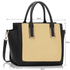 LS00338 - Black / Beige Tote Bag With Long Strap