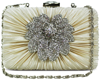 LSE006 - Beige Gorgeous Satin Rouched Brooch Hard Case  Evening Bag