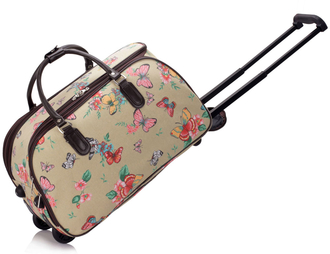 AGT00308C - Beige Butterfly Print Travel Holdall Trolley Luggage With Wheels - CABIN APPROVED