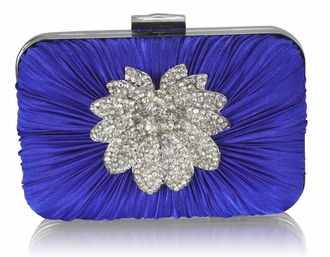 LSE006 - Blue Gorgeous Satin Rouched Brooch Hard Case Blue Evening Bag