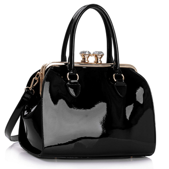LS00378 - Black Patent Satchel With Metal Frame