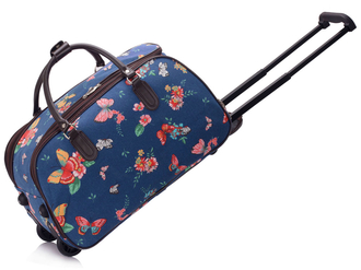 AGT00308C - Wholesale & B2B Navy Butterfly Print Travel Holdall Trolley Luggage With Wheels - CABIN APPROVED Supplier & Manufacturer
