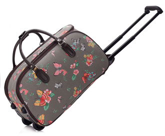 AGT00308C - Grey Butterfly Print Travel Holdall Trolley Luggage With Wheels - CABIN APPROVED