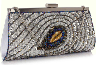 LSE00295 - Silver Sequin Peacock Feather Design Clutch Evening Party Bag