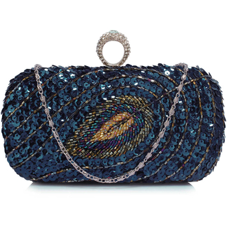 LSE00298 - Wholesale & B2B Navy Sequin Peacock Feather Design Clutch Evening Party Bag Supplier & Manufacturer