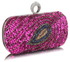 LSE00298 - Fuchsia Sequin Peacock Feather Design Clutch Evening Party Bag