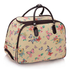 LS00309C - Beige Butterfly Print Travel Holdall Trolley Luggage With Wheels - CABIN APPROVED