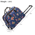 AGT00309C - Wholesale & B2B Navy Butterfly Print Travel Holdall Trolley Luggage With Wheels - CABIN APPROVED Supplier & Manufacturer