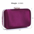 LSE006 - Purple Gorgeous Crystal Satin Rouched Brooch Hard Case purple Evening Bag