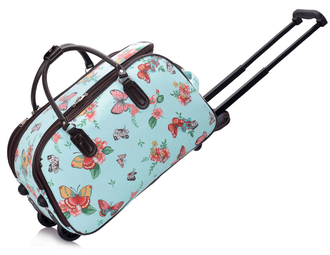 AGT00308C - Blue Butterfly Print Travel Holdall Trolley Luggage With Wheels - CABIN APPROVED